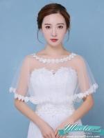 Preorder ผ้าคลุม /เสื้อคลุม ผ้าตาข่าย แต่งลูกไม้ สีขาว
