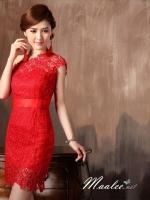 Pre-order ชุดราตรีสั้น สีแดง ไหล่เฉียง แต่งลูกไม้ทั้งชุดเข้ารูป ผ้าคาดเอวซาติน