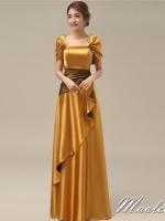 พร้อมส่ง ชุดราตรียาว สีทอง ปิดไหล่ แต่งดอกกุหลาบจับจีบสวย ผ้าซาติน **เหลือเฉพาะไซส์ M**