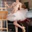 พร้อมเช่า ชุดแฟนซี ชุดราตรีสั้น หวานแบบ Vintage ผ้าโปร่งลายดอกไม้ กระโปรงผ้าแก้วสีขาว สวยหวาน thumbnail 4