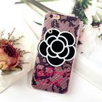 เคส tpu ดอกไม้ซ่อนกระจก ไอโฟน 7 plus 5.5 นิ้ว-สีดำ