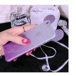 เคสหูมิ๊กกี้เม้าส์กากเพชร 2 ชั้น ไอโฟน 4/4s(ใช้ภาพไอโฟน 6 แทน)-ม่วง