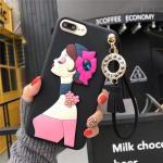 เคสนิ่มลายผู้หญิง 3Dห้อยพู่แต่งเพชร ไอโฟน 6plus/6s plus 5.5 นิ้ว-2