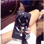 เคสติดดอกไม้แต่งพู่ ไอโฟน 6/6s 4.7 นิ้ว-สีดำ