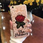 เคส tpu ลายลูกไม้ปักดอกกุหลาบ ไอโฟน 7 4.7 นิ้ว (ใช้ภาพรุ่นอื่นแทน)-ขาว