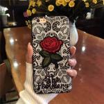 เคส tpu ลายลูกไม้ปักดอกกุหลาบ ไอโฟน 7 4.7 นิ้ว (ใช้ภาพรุ่นอื่นแทน)-ดำ