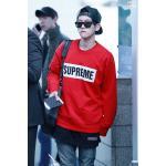 เสื้อแฟชั่นแขนยาว EXO BAEKHYUN SUPREME สีแดง : XL