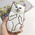 เคสซิลิโคน 3D แมว ไอโฟน 4/4s -สีขาว