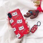 เคส iPhone X tpu ลายการ์ตูนแต่งที่เกี่ยวมือถือ-แมวสีแดง
