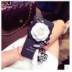 เคสติดดอกไม้แต่งพู่ ไอโฟน 6/6s 4.7 นิ้ว-สีขาว