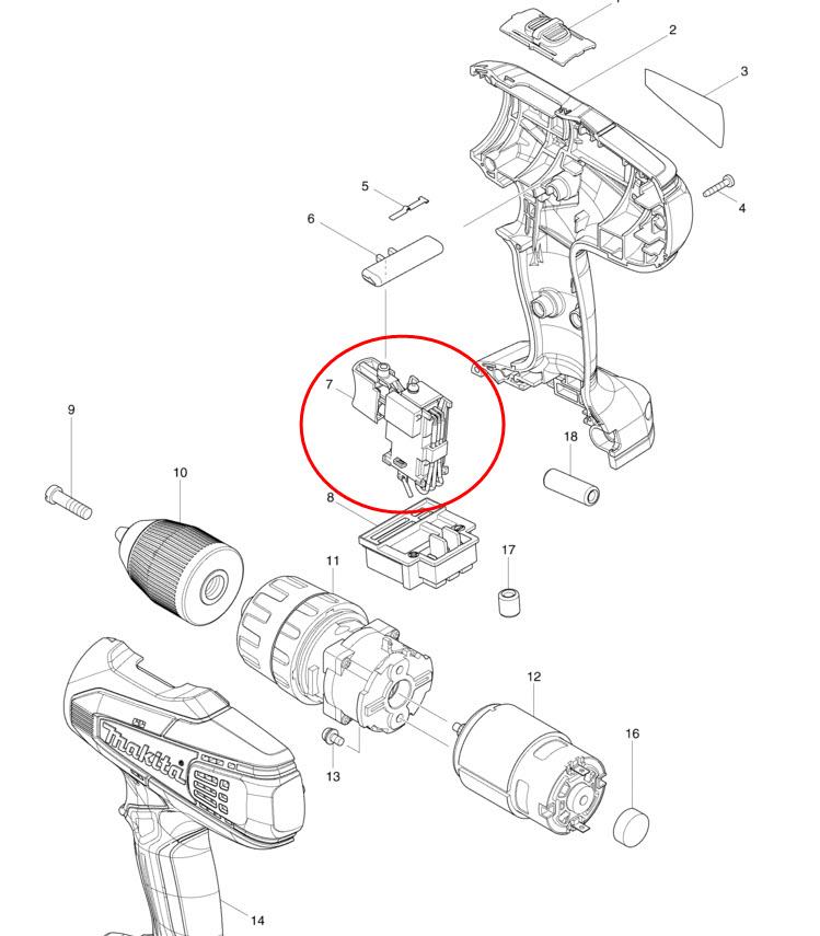สวิทช์ สว่านกระแทกไร้สาย มากีต้า Makita HP457D 18v. (แท้)