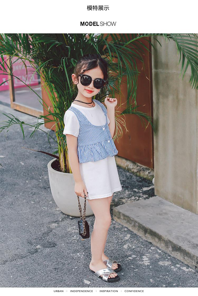 ชุดเดรสสีขาว+เสื้อกั๊กลายทางสีฟ้า [size 2y-3y-4y-5y-6y]