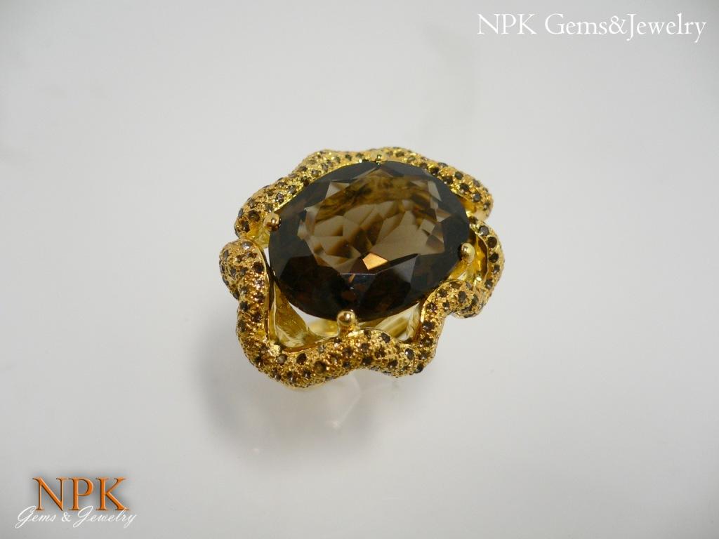 แหวนสโม๊คกี้ (Smokyquartz Silver Ring) สั่งทำได้ค่ะ