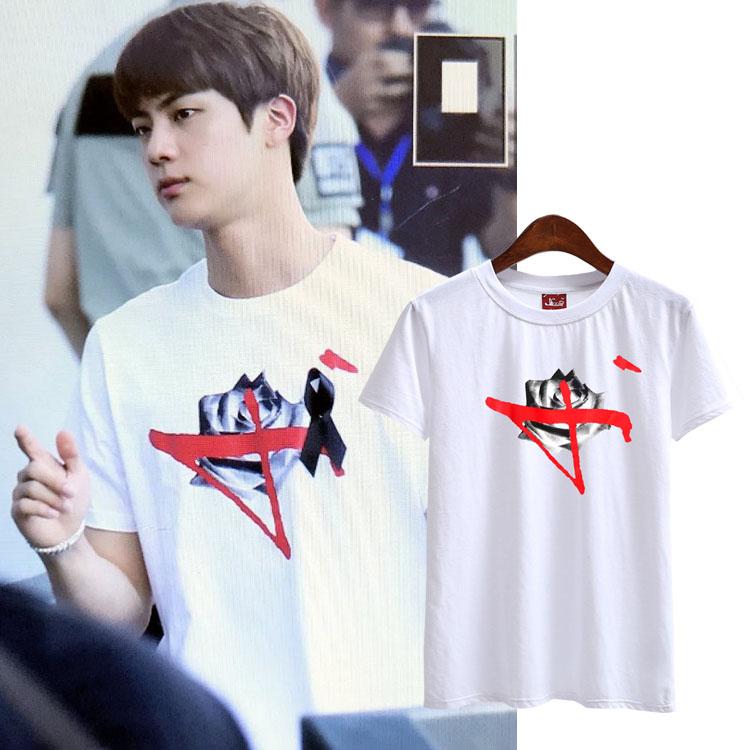 เสื้อยืด (T-Shirt) ลายกุหลาบ แบบ Jin