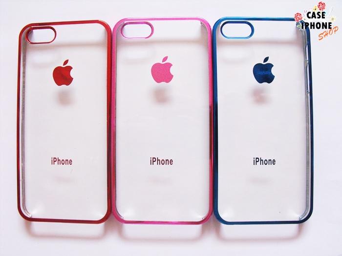 เคสใสขอบโครเมียมโลโก้ apple ไอโฟน 5/5s