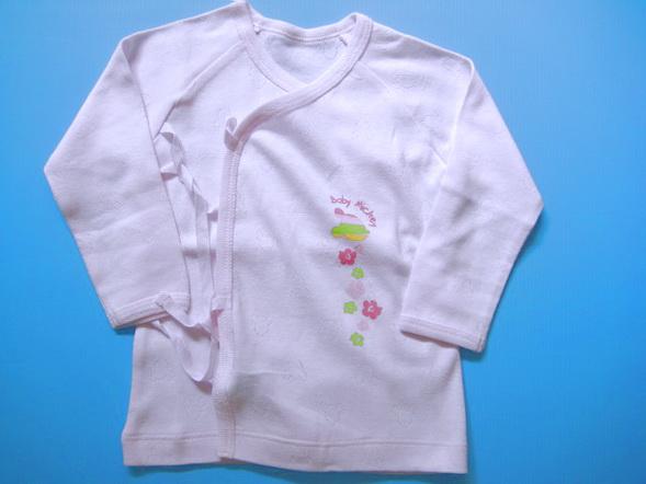 LES021 LES ENPhANTS-Disney Baby เสื้อผ้าเด็กเล็ก-เด็กอ่อน เสื้อแขนยาวแบบป้าย-ผูกเชือก สีชมพู เจาะลาย Mickey ทั้งตัว แขนยาว Size 6M