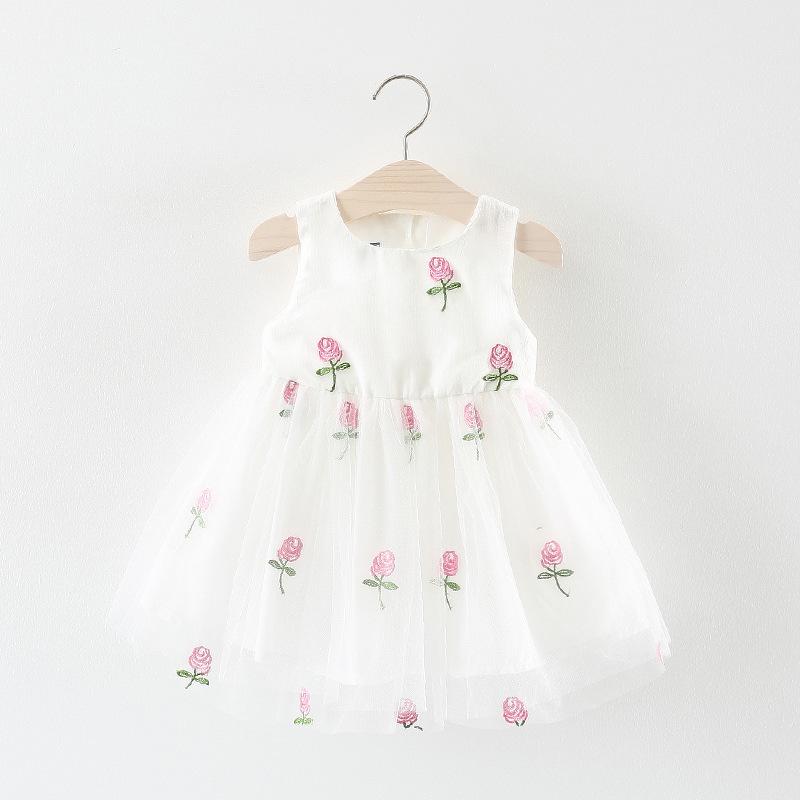 ชุดเดรสสีขาวปักดอกกุหลาบสีชมพู [size 6m-1y]