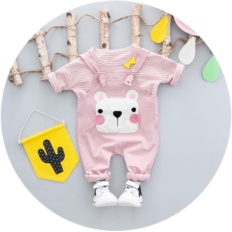ชุดเซตเสื้อแขนยาวลายขวางสีชมพู+เอี๊ยมน้องหมีสีชมพู แพ็ค 4 ชุด [size 1y-2y-3y-4y]