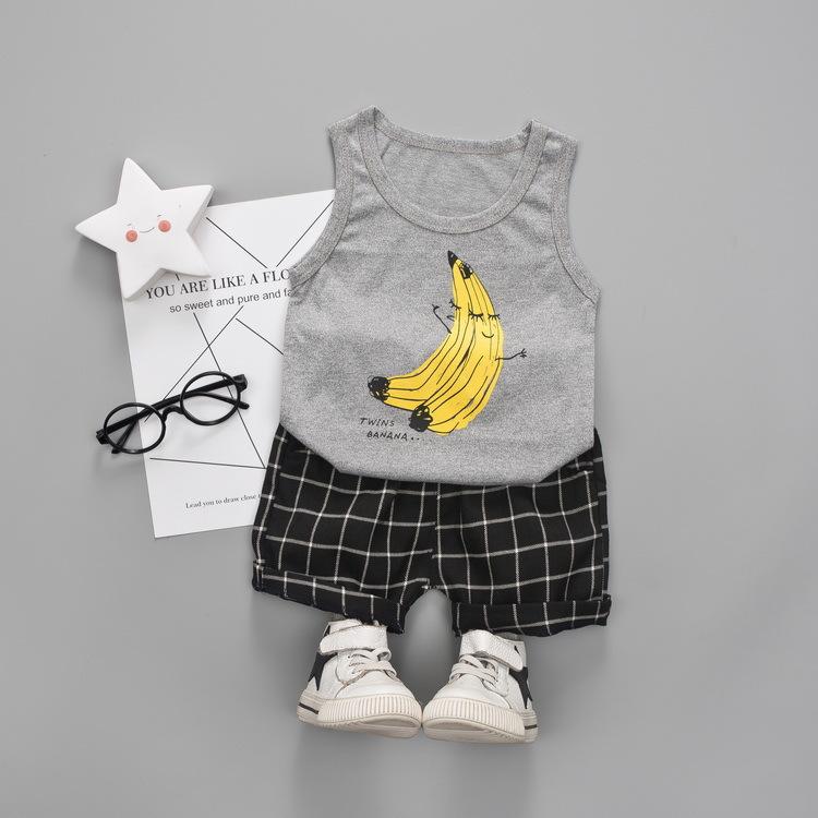 ชุดเซตเสื้อกล้ามสีเทาลายกล้วย+กางเกงสีดำลายตาราง แพ็ค 4 ชุด [size 6m-1y-2y-3y]