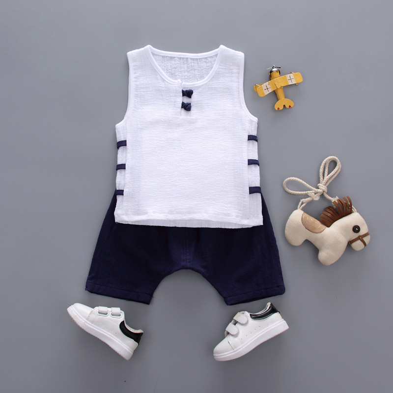 ชุดเซตเสื้อแขนกุดสีขาว+กางเกงสีกรมท่า แพ็ค 4 ชุด [size 6m-1y-2y-3y]