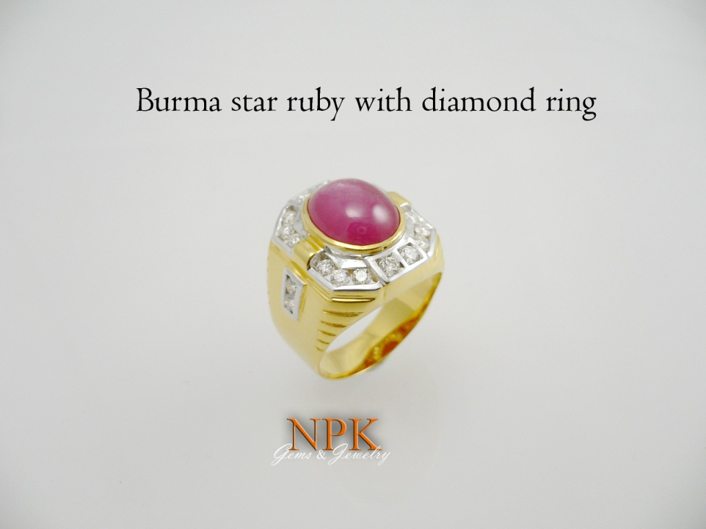 แหวนทับทิมล้อมเพชร Burma ruby with diamond ring