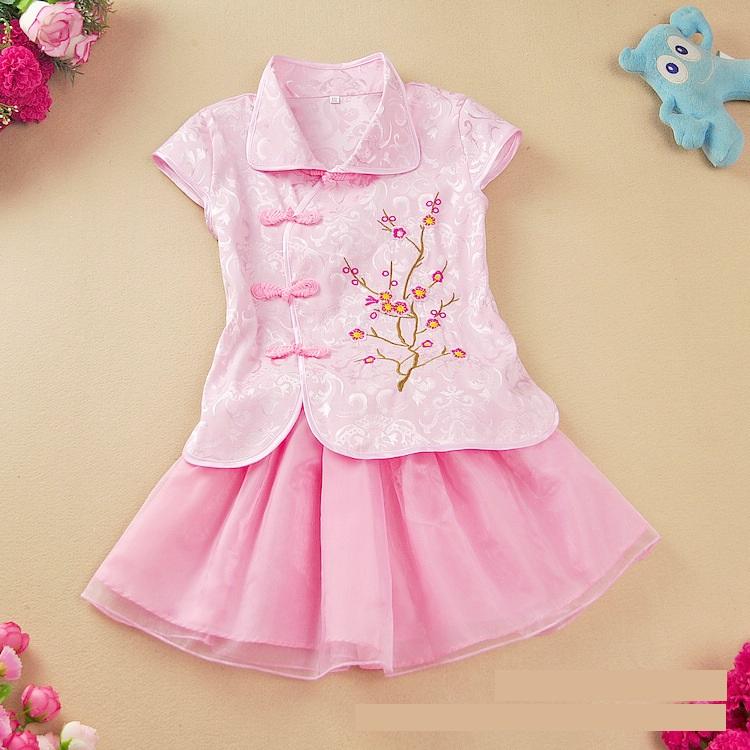 ชุดเซตเสื้อคอจีนลายดอกไม้สีชมพู+กระโปรงสีชมพู แพ็ค 6 ชุด [size 3y-4y-5y]