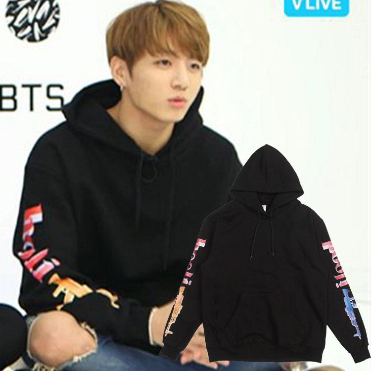 เสื้อฮู้ด (Hoodie) สกรีนลายแขนเสื้อ แบบ Jungkook