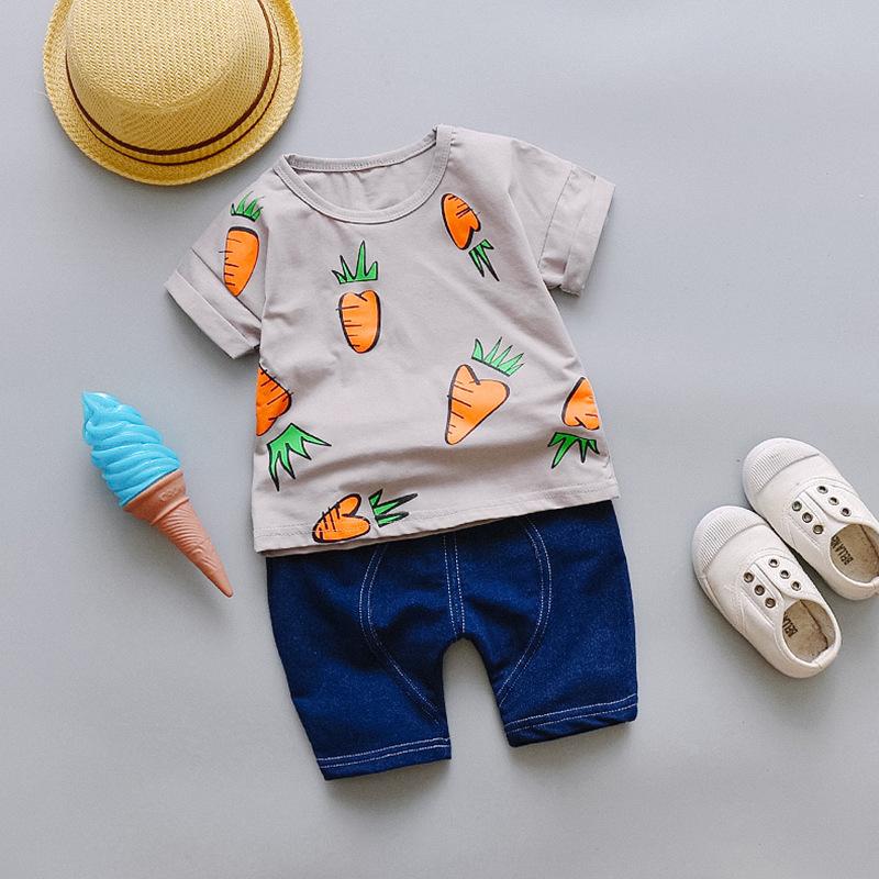 ชุดเซตเสื้อสีเทาลายแครอท+กางเกงสียีนส์เข้ม แพ็ค 4 ชุด [size 6m-1y-2y-3y]