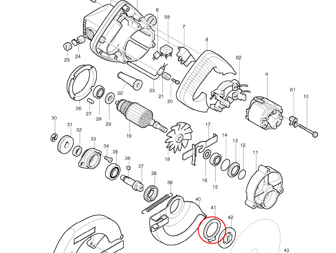 อะไหล่ เลื่อยวงเดือน มากีต้า Makita รุ่น 5600NB #41 แหวนล็อค แท้ (สินค้าไม่มีในสต้อก)