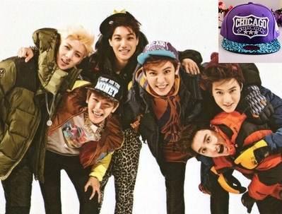 หมวกแฟชั่น EXO EXO Pucan CHICAGO สีม่วง