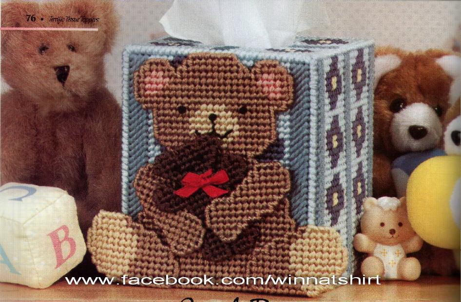 ชุดปักแผ่นเฟรมกล่องทิชชูลายหมีอุ้มลูกหมี