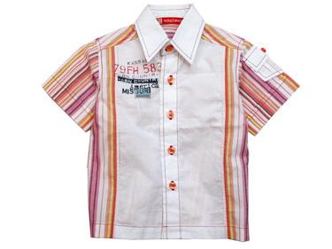 K506SA Kidsplanet เสื้อผ้าเด็กชาย เชิ้ตแขนสั้น สีขาว ด้านข้างและด้านหลังเป็นลายริ้วสีโทนชมพูเหลือง สกรีนลายตรงอก มีกระเป๋าเก๋ ๆ ที่แขน Size 12M/24M
