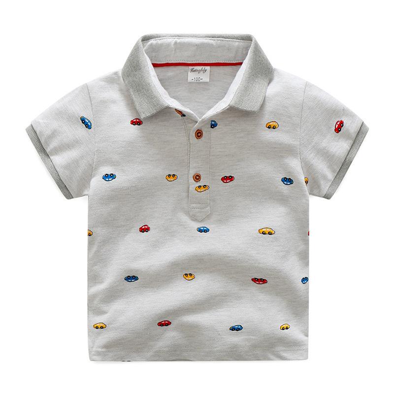 เสื้อยืดคอปกสีเทาลายรถ [size 2y-3y-4y-5y-6y]