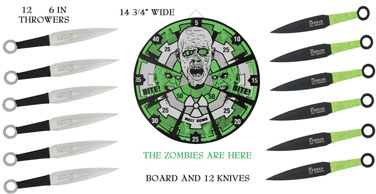 Tomahawk Zombie Target with 12 Throwing Knives XL1530