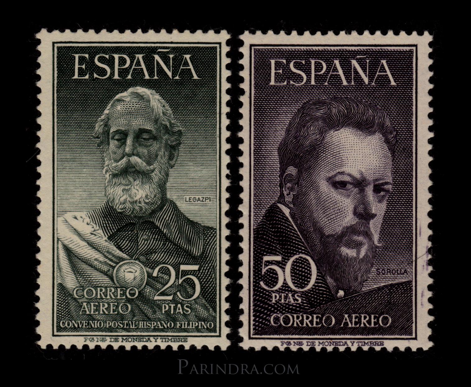 แสตมป์สเปน บุคคลสำคัญ Legazpi y Sorolla ปี 1953 - España Spain