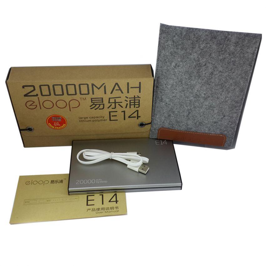 แบตสำรอง Eloop E14 ของแท้ 20000 mAh สำหรับโทรศัพท์ แท็บเล็ต ทุกรุ่น