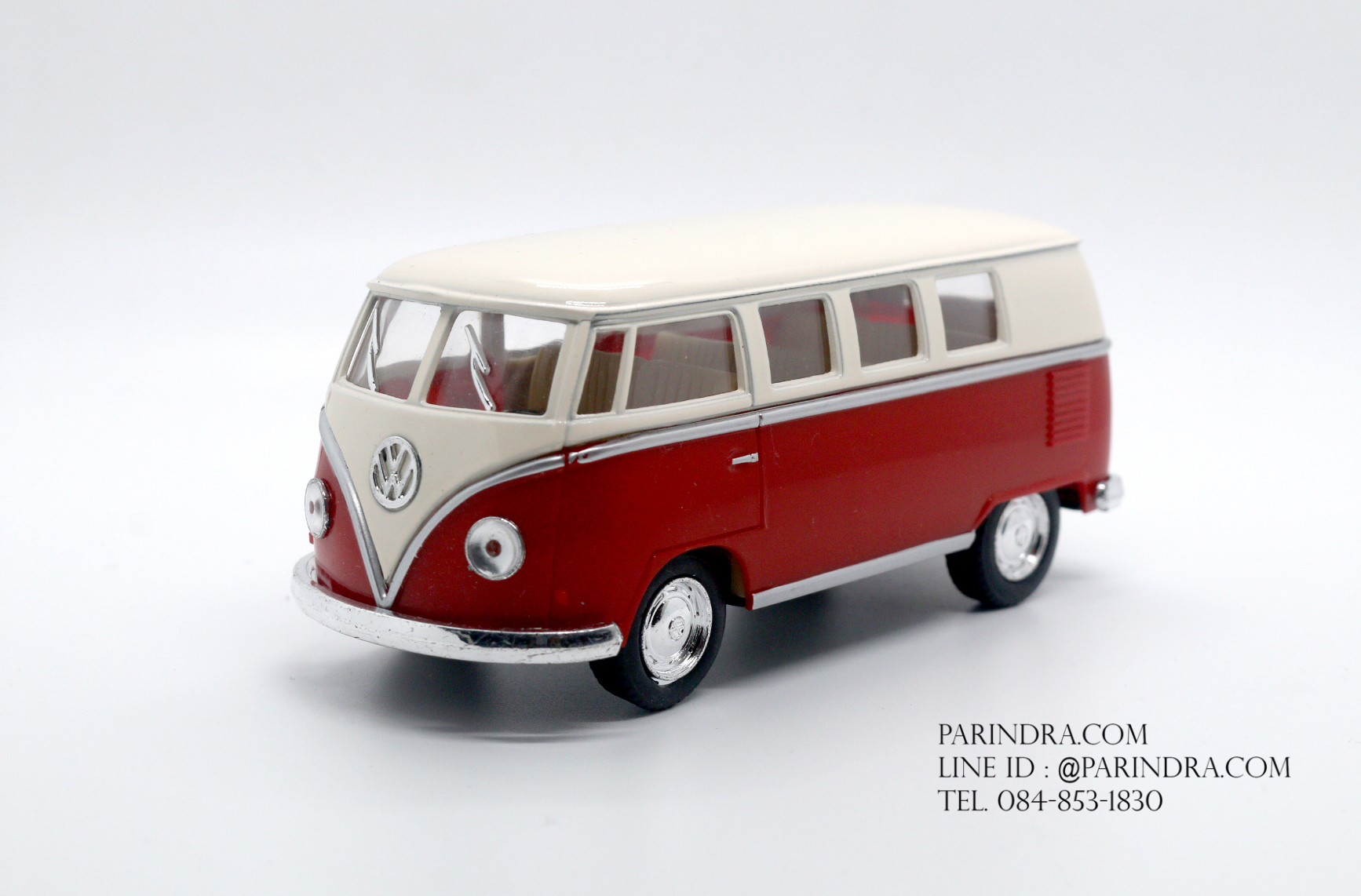 โมเดลรถเหล็ก รถตู้โฟล์ค รถเต่า Volksawagen Classical bus 1962 สีแดง