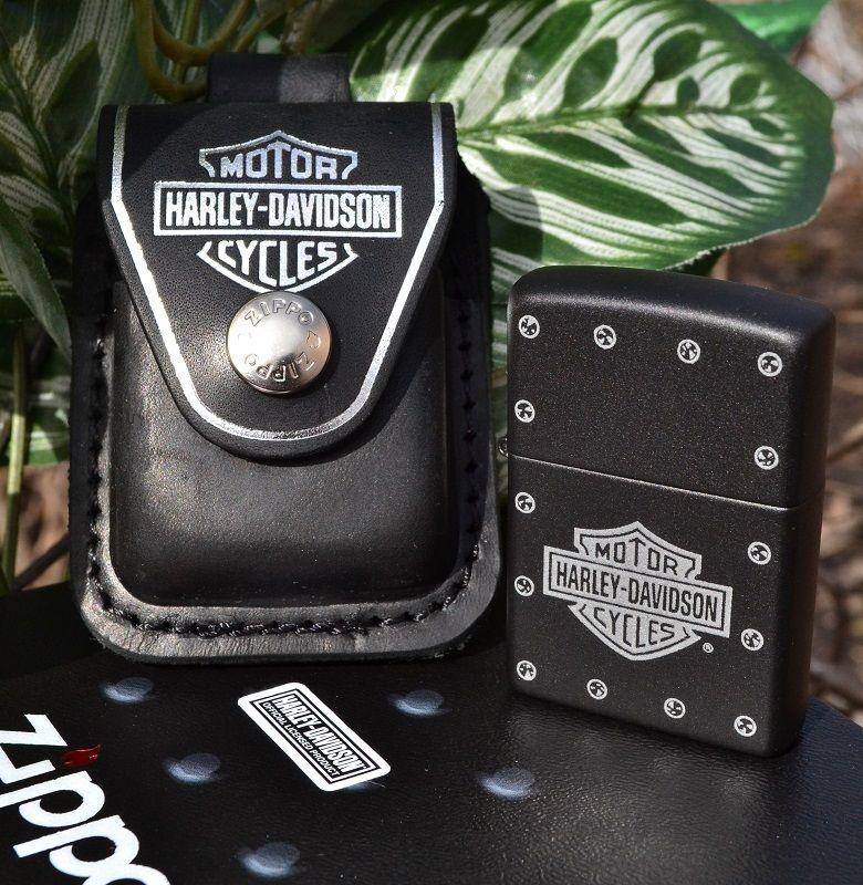 กระเป่าหนังใส่ไฟแช็ค Zippo แท้ - Genuine Zippo HDPBK, Harley Davidson Black Leather Lighter Pouch แบบห่วงเหน็บเข็มขัด