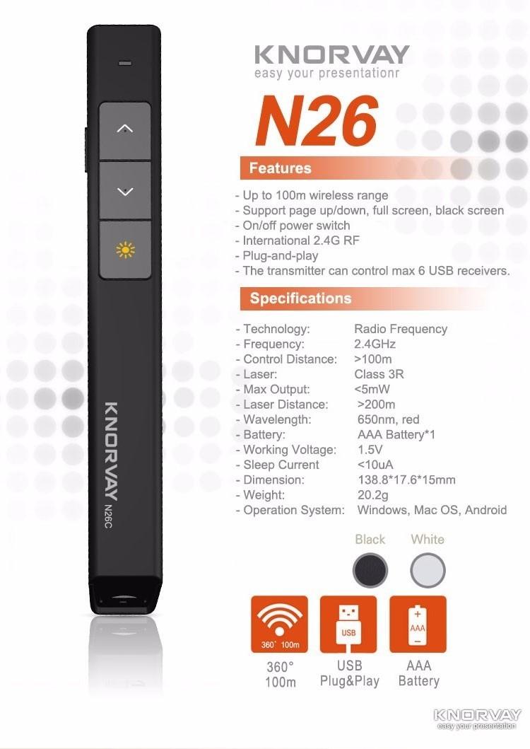KNORVAY Wireless Presenter with Laser Pointer N26C รีโมทพรีเซนต์ไร้สายพร้อมเลเซอร์สีแดง