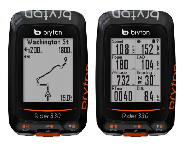 ไมล์ Bryton Rider 330 GPS Cycling computer