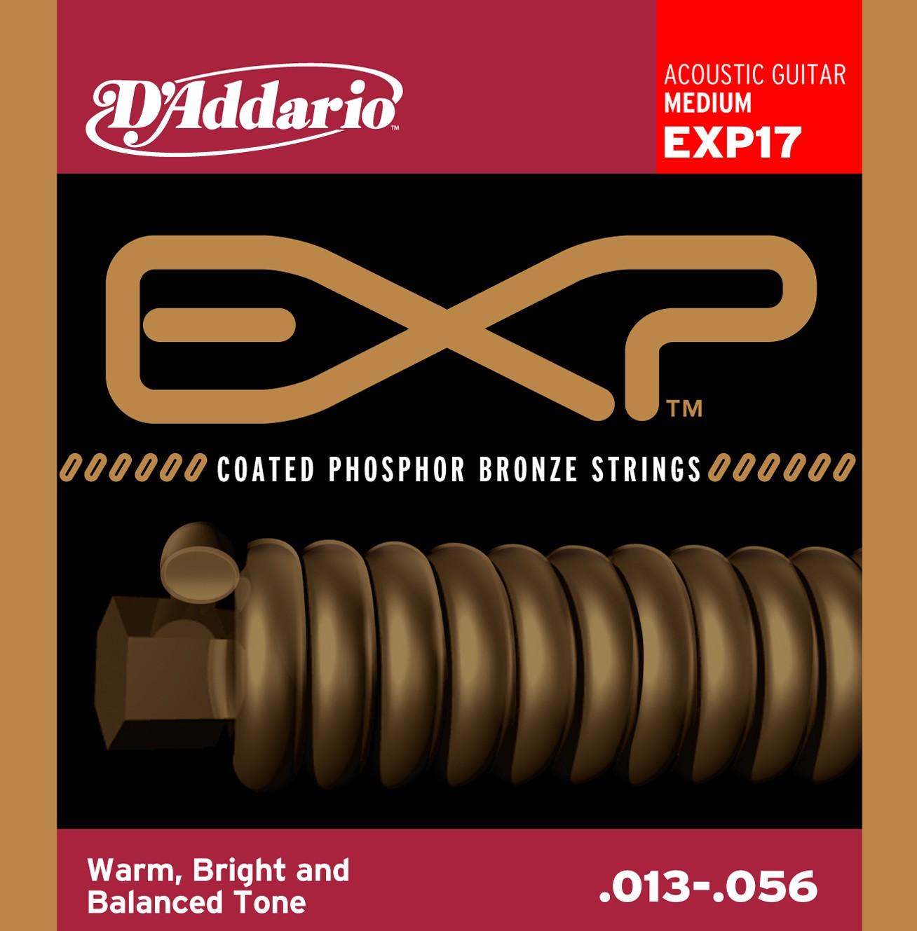 สายกีตาร์โปร่ง D'Addario EXP17 Coated Phosphor, Medium, 13-56