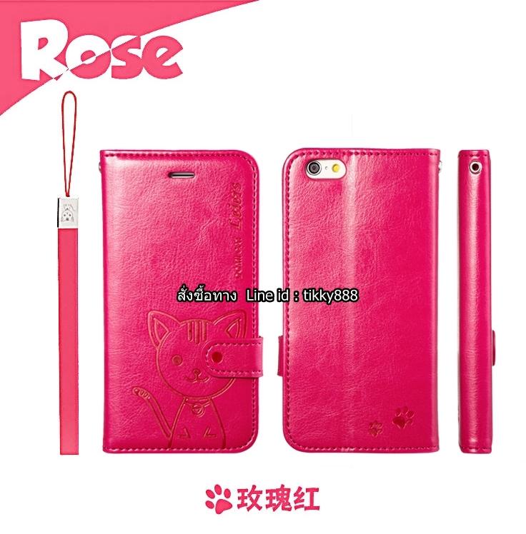 เคสฝาพับ iPhone 6/6s แบรนด์ Leiers Domi Cat สีชมพูเข้ม