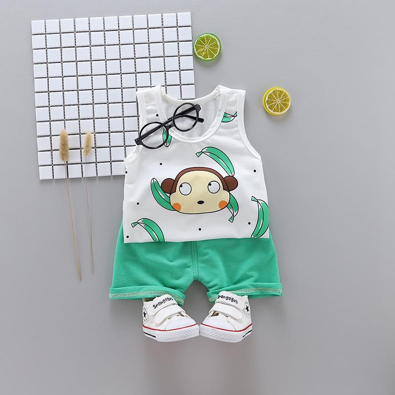 ชุดเซตเสื้อกล้ามลายกล้วย+กางเกงสีเขียว แพ็ค 4 ชุด [size 6m-1y-2y-3y]