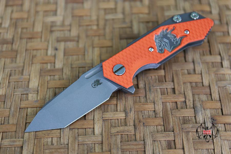 RHK Half Track Tanto Working Finish Blade Horse Engraved Orange G10 Cutout