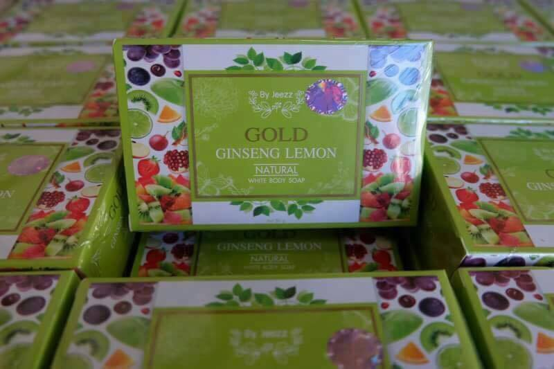สบู่โสมมะนาวทองคำ สปาตัวขาว Gold Ginseng Lemon Natural White Body Soap By Jeezz