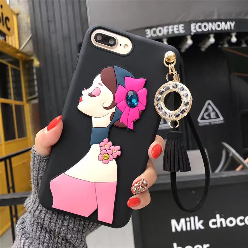 เคสนิ่มลายผู้หญิง 3Dห้อยพู่แต่งเพชร ไอโฟน 6plus/6s plus 5.5 นิ้ว