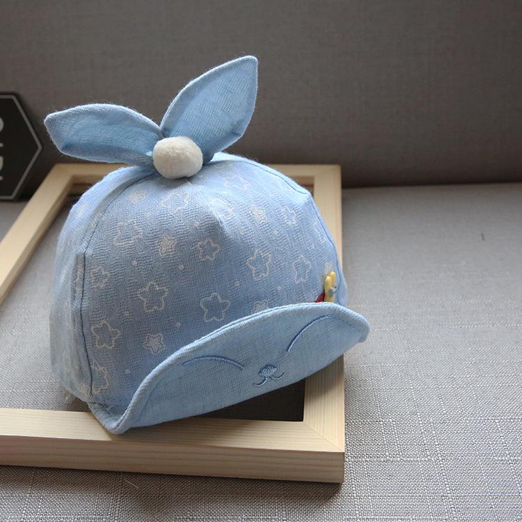 หมวกเด็กลายดาวสีฟ้าแต่งหูกระต่าย แพ็ค 3 ชิ้น