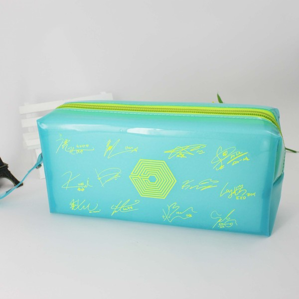 กระเป๋าดินสอ EXO สีฟ้า ลายเซ็น