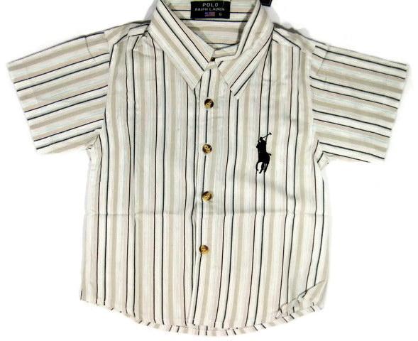 SH118 POLO RALPH LAUREN เสื้อเชิ้ตเด็กแขนสั้น ผ้าคอตตอน นิ่ม พริ้วนิด ๆ ลายริ้วสลับสี โทนสีน้ำตาลอ่อน ปักม้า ผ้ามีลายในตัวSize 6/8/10/12