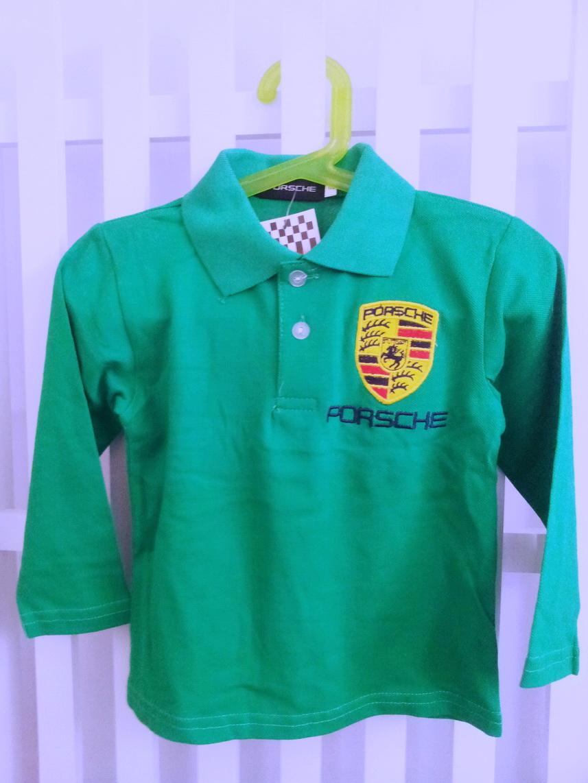 TX009 เสื้อโปโลเด็ก แขนยาว สีเขียว เนื้อนิ่ม ใส่สบาย ปักตราสัญลักษณ์ PORSCHE ตรงอกและด้านหลัง Size 5/9/11/13